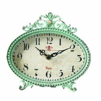 Creative Co-op Metal Rustic Retro Table Clock, 6.25-Inch, Aqua