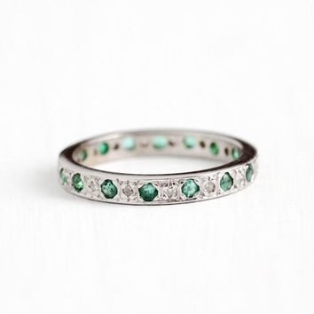 Antique 14k White Gold Diamond & Emerald Eternity Wedding Band Ring - Size 5 1/4 Vintage Art Deco Fine Bridal Engagement Stacking Jewelry