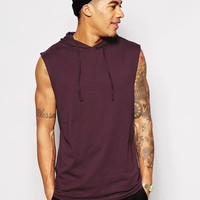 ASOS | ASOS Longline Sleeveless T-Shirt With Hooded Skater Fit at ASOS