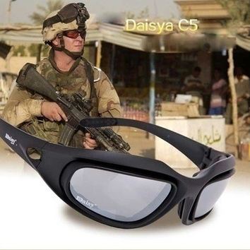 polarized Goggles Desert Storm 4 Lens Outdoor UV400 Protection Hunting Military Sunglasses with Case War Game Glasses [8833397836]