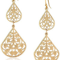 1928 Jewelry Gold-Tone Filigree Vine Double Drop Earrings