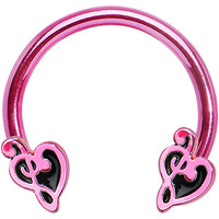 "14 Gauge 9/16"" Pink Titanium G Clef Heart Horseshoe Circular Barbell 
