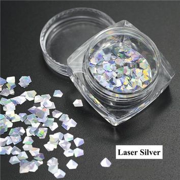 1 Box Nail Sequins Laser Flakes Dazzling Diamond Sticker Tips Sequins Sparkling Nail Art Decorations DIY Accessories LA293