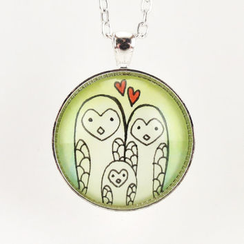Mothers Day Gift Happy Owl Family Pendant Mom by cellsdividing