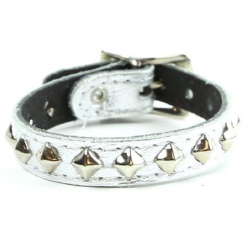 1-Row Mini Diamond Stud Silver Patent Leather Wristband Bracelet