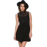 Black Chiffon Sleeveless Lace Embroidered Mini Skater Dress