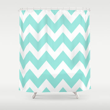 Chevron 4 Tiffany Blue Shower Curtain by Beautiful Homes