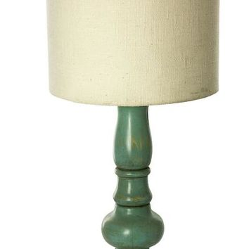 Artisan Crafted Pinewood Table Lamp - Colonial Aqua | NOVICA