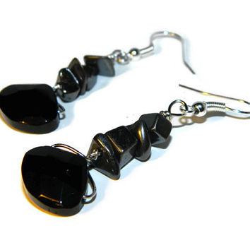 Black glass earrings, stainless steel jewelry, hematite earrings, stone earring, dangle earrings, silver earrings, faceted glass, stone chip