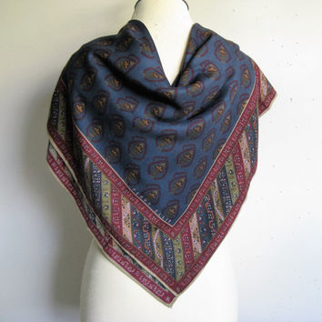 80s PERRY ELLIS Wool Scarf Vintage 1980s Burgundy Navy Blue Wool-Silk Large Square Scarf