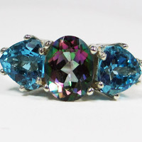 London Blue Topaz and Mystic Topaz Ring - Sterling Silver