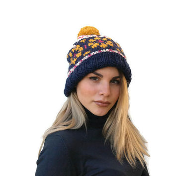 Knit fair isle hat - Navy blue knit Beanie hat- Women hat - knit pom pom hat - Winter hat- EPSILONstudio knit hat - Color hat- Accessories