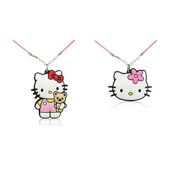 20PCS Hello Kitty PVC Cartoon Chains Choker Necklace Pendant Lovely Rope Chains Necklace 51cm Fashion Charms Jewelry Kid Gift