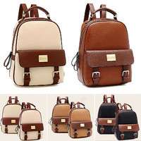 Faux Leather Women's Backpack Style Student Bookbags Travel Bag Pleasing LAUS