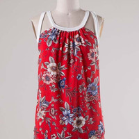 Red Floral Tank