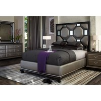 After Eight Black Onyx Upholstered Bedroom Set, 19000Q3-88, Aico Furniture