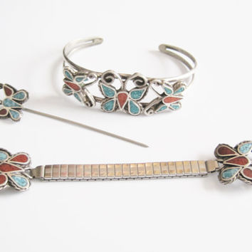 Navajo Butterfly Bracelet Watch Band Stick Pin Sterling Jewelry Set Inlay Turquoise Coral Southwestern