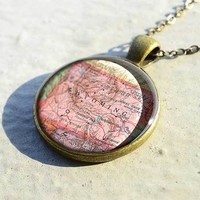 Vintage Wyoming map necklace jewelry is best birthday gift - M1909CP