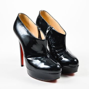 PEAPU2C Black Christian Louboutin Patent Leather Moulage Ankle Booties
