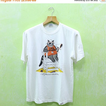 15% SALES Vintage Kliban Bkliban Crazy Shirt Life Guard Cat Lazy Cat Picnic Beach Hawaii Surfing Aloha T shirt M