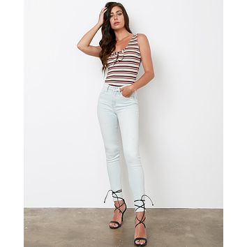 Kicker's High-Rise Distressed Skinny Jeans - Light Blue