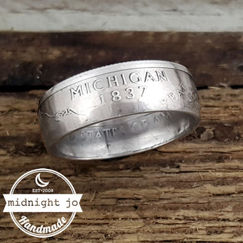 Michigan 90% Silver State Quarter Coin Ring