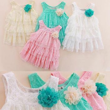 Infant Baby Girls Lace Dress Children Clothing For Summer Kids Princess Flower Tutu Dresses