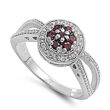 925 Sterling Silver CZ Flower Cluster Center Simulated Garnet Ring 10MM