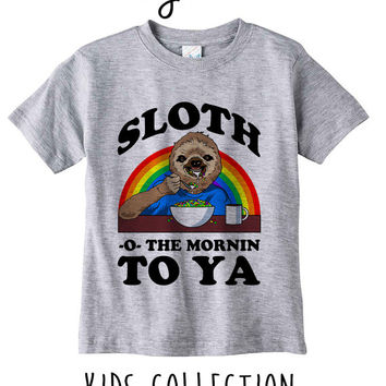 Sloth O To The Morning To Ya Heather Grey / White Toddler Kids T Shirt Clothes Gift