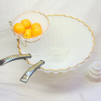 Vintage Serving Bowl White Gold Salad Bowl Set  Gold White Chip Dip Bowl Milk Glass Chip Dip Bowls White Gold Glass Serving Bowls