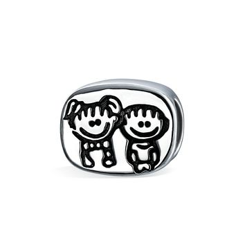 BFF Brother Sister Cartoon Family Charm Bead Sterling Silver Bracelet