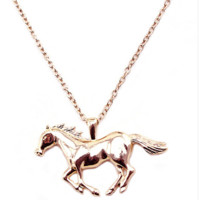 Running Horse Pendant Necklace Jewelry