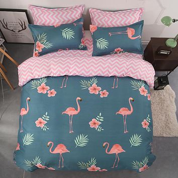 Pink Flamingo green Duvet Cover Set Animal Printed Bird Bedding Set twin queen King Cute Girls Bed Cover  cartoon new Bedspread