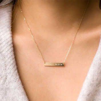 Bar Necklace, Engraved Necklace, Gold Filled, Rose Gold Filled, Sterling Silver, Custom Name Plate