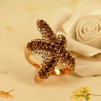 Luxury Full Rhinestone Starfish Ring