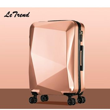 Letrend Unique Design  Women Suitcases Wheel Trolley Rolling Luggage Spinner Travel Bag Carry on Luggage password Hardside 20/24