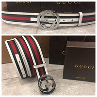 New w/ Tags Authentic White Green Red Gucci Belt w/ Silver Buckle 95 Cm 30-34