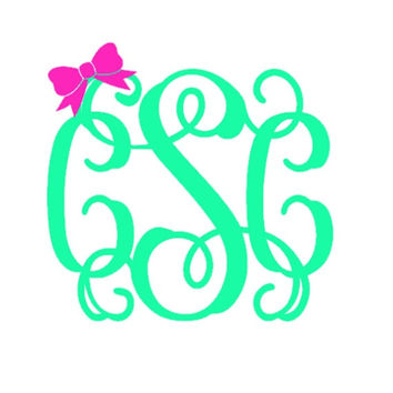 5 inch Bow Monogram Decal, Monogram with Bow, Monogram Car Decal, Monogram Wall Decal, Laptop Sticker, Monogrammed Gifts