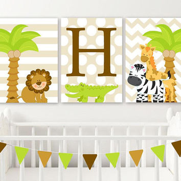 BOY Safari Animal Nursery Wall Art, Boy Jungle Safari Animals Decor, Baby Boy Nursery Pictures, Zoo Animals Boy Canvas or Prints Set of 3