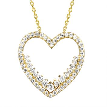 Iced Out Solitaire Heart Frame 14k Gold Finish Pendant Valentine's