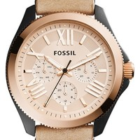 Women's Fossil 'Cecile' Multifunction Leather Strap Watch, 40mm