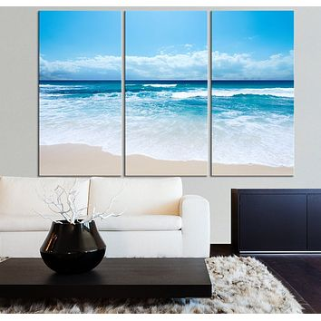 Large Wall Art Ocean Beach and Wave Canvas Print Seascape Scenery 3 Panel Canvas Art For Wall