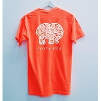 Ivory Ella Summer Autumn Lovely Elephant Print Loose Round Collar Short Sleeve T-Shirt Pullover Top Orange