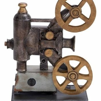 Benzara Metal Projector Antique Class Entertaining Room Decor