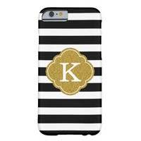 Stylish Black Stripes Gold Monogram Barely There iPhone 6 Case