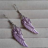 metallic pink colored   Angel wings dangle earrings