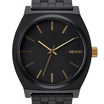 Men's Nixon 'The Time Teller' Stainless Steel Bracelet Watch, 37mm - Matte Black/ Gold