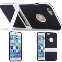 Black Ultra Slim Soft TPU Kickstand Case for Iphone 6 6s Plus 5.5 Back Cover Cell Phone Accessories Stand Holder = 1714296068