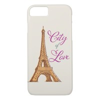 Brown Yellow Eiffel Tower iPhone 8/7 Case