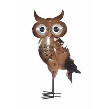 D Art Collection Iron Brown Standing OwlDecor Small